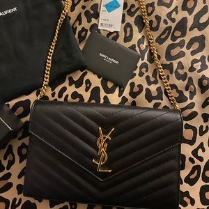 YSL GOLD MONOGRAM PEBBLED LEATHER WALLET ON CHAIN